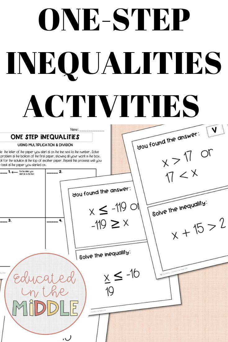 One Step Inequalities Activities Inequalities Activities Graphing Inequalities Kindergarten Math Worksheets Addition Solving inequalities using addition and