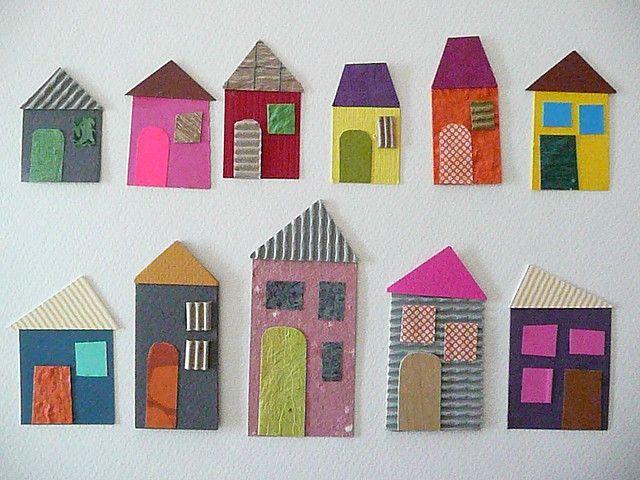 colorful cardboard houses.