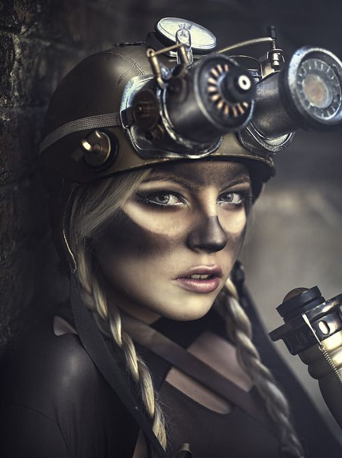 Steampunk girl - bugs me that her goggles are not the same shape as the clean parts around her eyes
