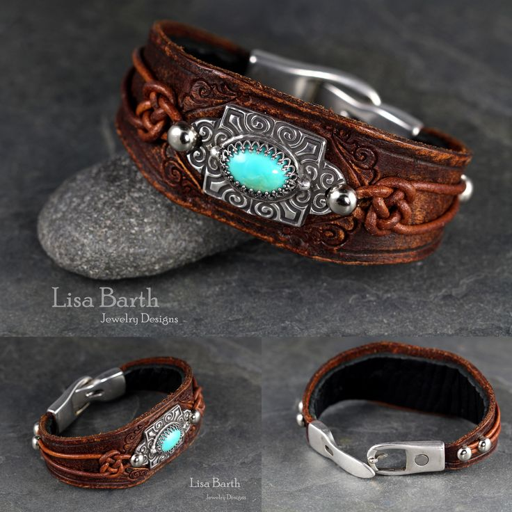 Here is a turquoise cab set in fine silver metal clay with a sterling gallery wire bezel.  I hand cut, dyed and tooled the leather and also distressed it to make the leather look old. --Lisa Barth