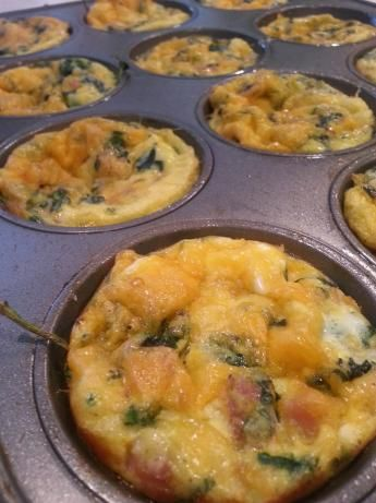 Muffin Sized Breakfast Quiche: I made these for a healthy breakfast on the go.  I added green onion instead of white, and I also added a little chopped bacon :)