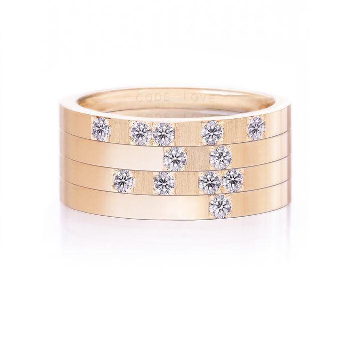 CODE LOVE 'LIVE' Morse Code Union Ring - These unique and beautiful Union Rings have been designed to stack. There are 26 rings in the collection each representing a letter of the English alphabet. Designed using brilliant cut diamonds set in either rose, yellow or white gold you can create whatever your heart desires! www.codelove.com.au