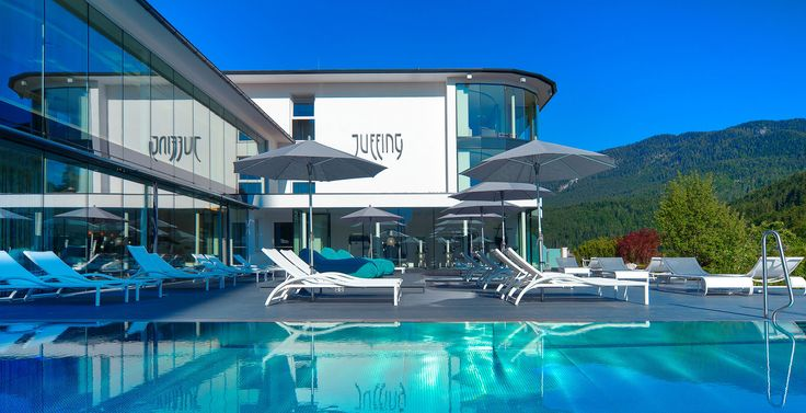 Outdoor pool at Juffing Hotel & Spa. Austria, #Hotel #spa #mountains #austria #tyrol #kufstein #inspiration