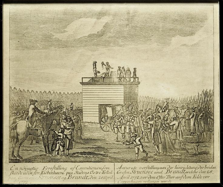 Struensee og hans ven Brandt henrettes på Københavns Østre Fælled, 28. april 1772.    Struensee and Brandt were executed at Østre Fælled in Copenhagen on April 28th 1772.