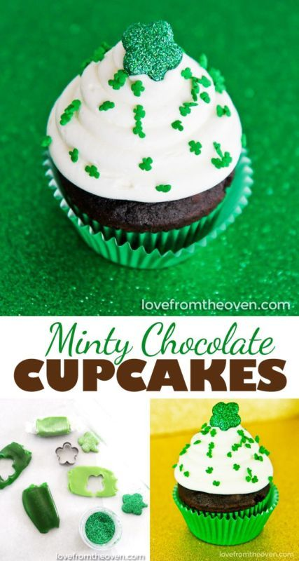 Mint Chocolate Cupcakes - With the most incredible white chocolate mint frosting! And the DIY shamrock cupcake toppers are darling and so easy to make.