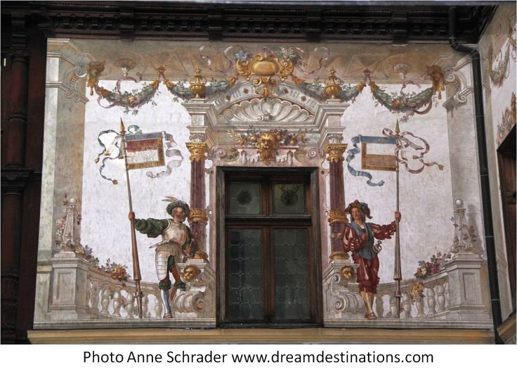 Mural on the outside wall of the courtyard Peles Castle Romania