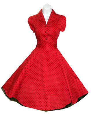 H R London Red Polka Dot Pinup Swing 1950s Housewife Dress Vintage Rockabilly | eBay