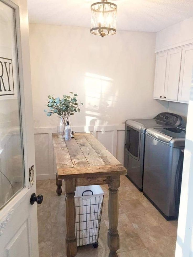 Love The Table To Fold On Laundry Mud Room Farmhouse Laundry Room Laundry Room Storage