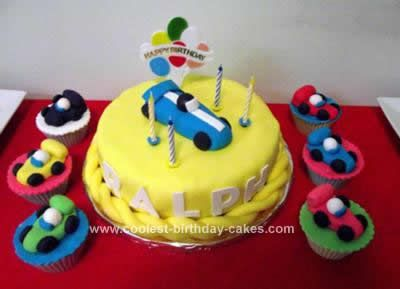 Homemade Racing Car Cake: I made a Homemade Racing Car Cake and cupcakes for my husband's birthday. Actually, our kids suggested the racing car theme for their Dad.  It's a chocolate