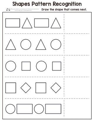 shapes pattern recognition for kindergarten itsy bitsy fun kindergarten worksheets shapes. Black Bedroom Furniture Sets. Home Design Ideas