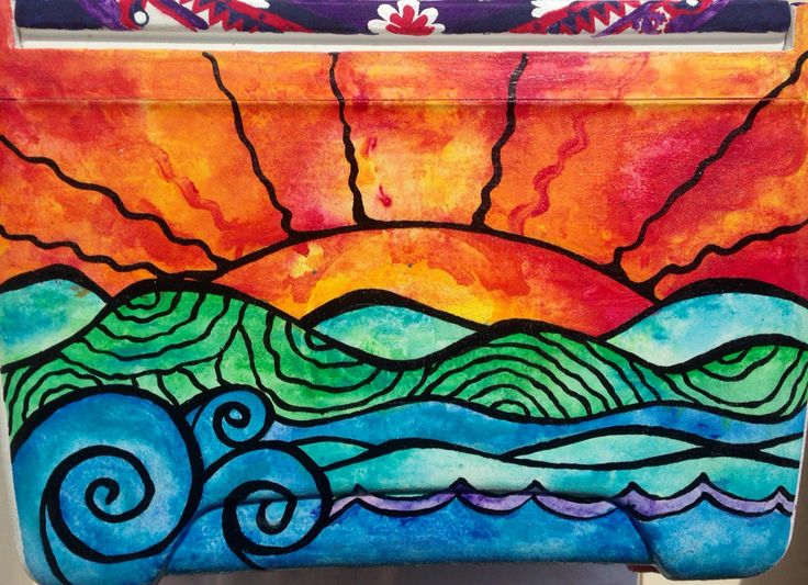 This colorful watercolor sunset brings vibrance to any cooler. So pretty!