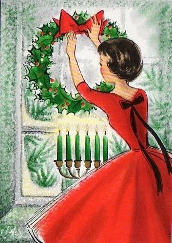 Retro Christmas Card: Woman in read hanging wreath in window