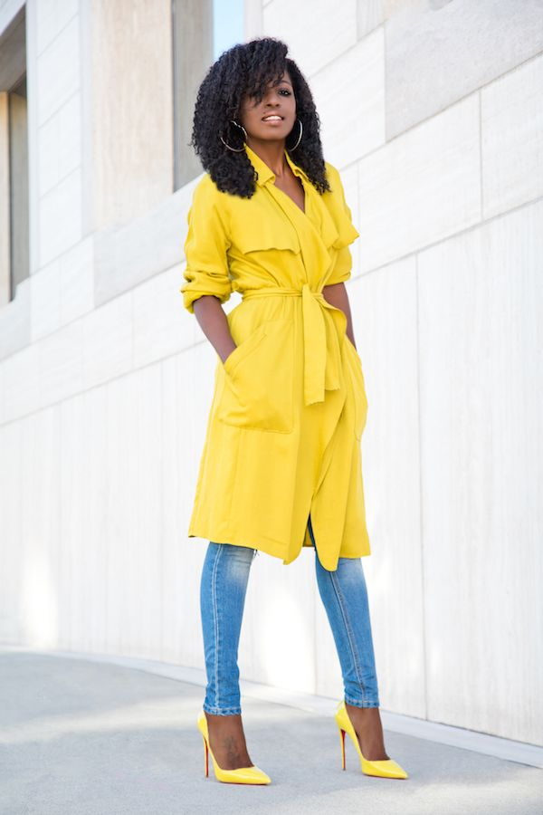 Yellow Trench + Bodysuit + Distressed Jeans