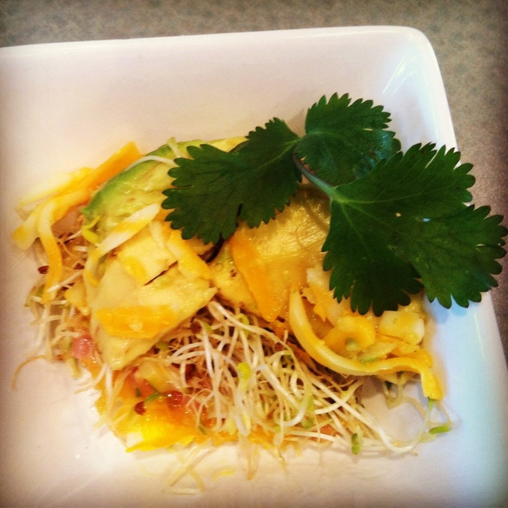 Breakfast Haystack-  there goes my crazy taste buds again and whatever ever I can find in my kitchen.    Layer in a warm skillet: diced ham, cracked egg, cheese, alfalfa sprouts, avocado and cheese again. Garnish with a sprig of cilantro.     Dana Sigman