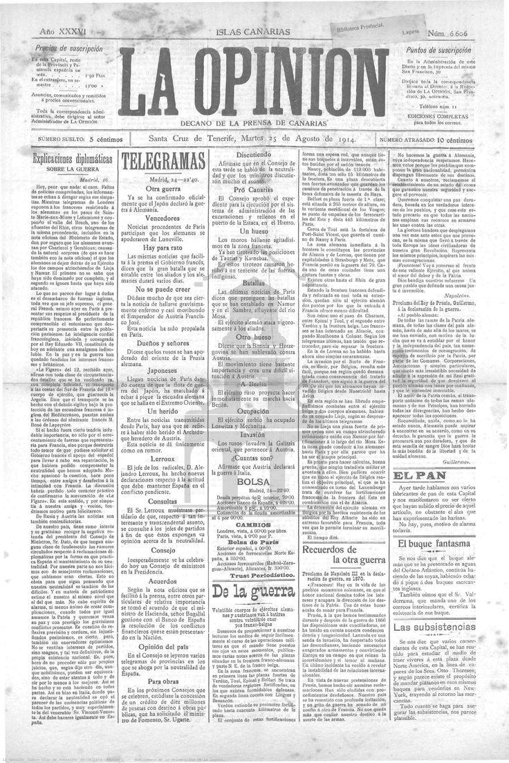 La Opinión - 25 de agosto de 1914. Primeros escarceos y movimientos bélicos entre las diferencias potencias, aludiéndose con incredulidad al fallecimiento del archiduque Francisco José de Austria.