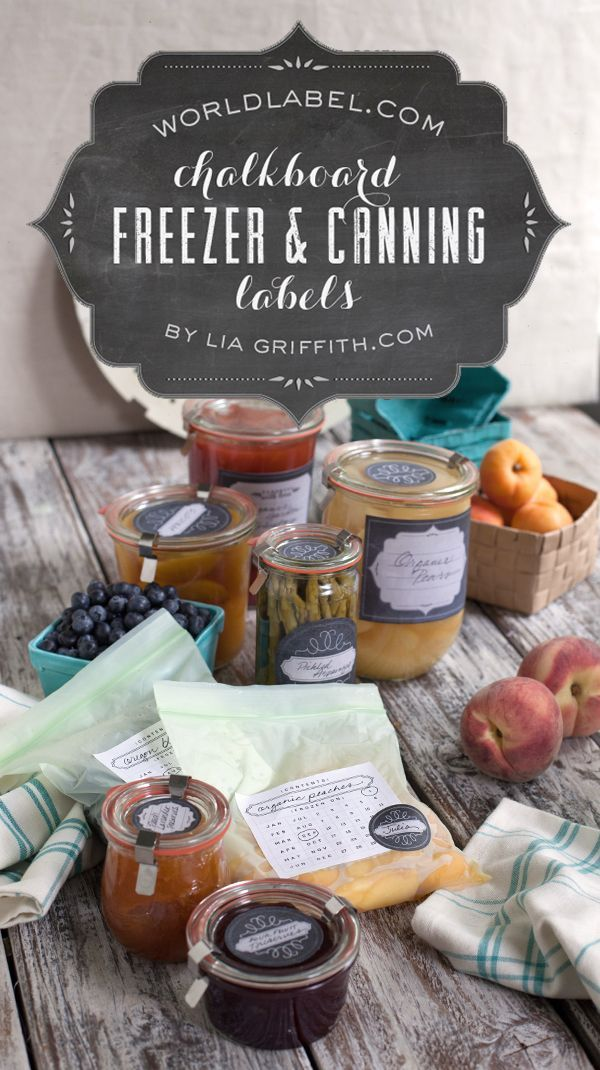 Free Printable CANNING and FREEZER labels by  LiaGriffith.com  Download these trendy vintage chalkboard style for the canning labels, the printables include a date label, three styles of large jar labels, three versions of 2 inch and 1.5 inch lid labels with an area to or a pretty decorative label to finish the look. Start Canning now -:)