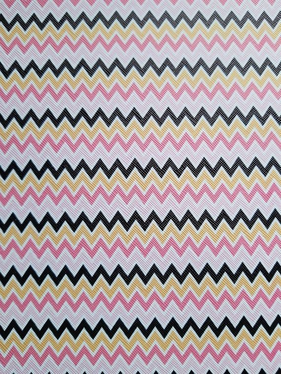Pink And Black Chevron Chevron Sheets Printed Faux Leather Vegan Leather Synthetic Leather Craf Chevron Sheets Black Chevron Prints