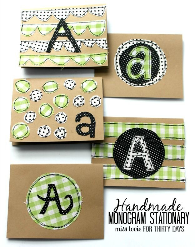 Handmade Monogram Stationery - super cute DIY cards from Miss Lovie via www.thirtyhandmadedays.com