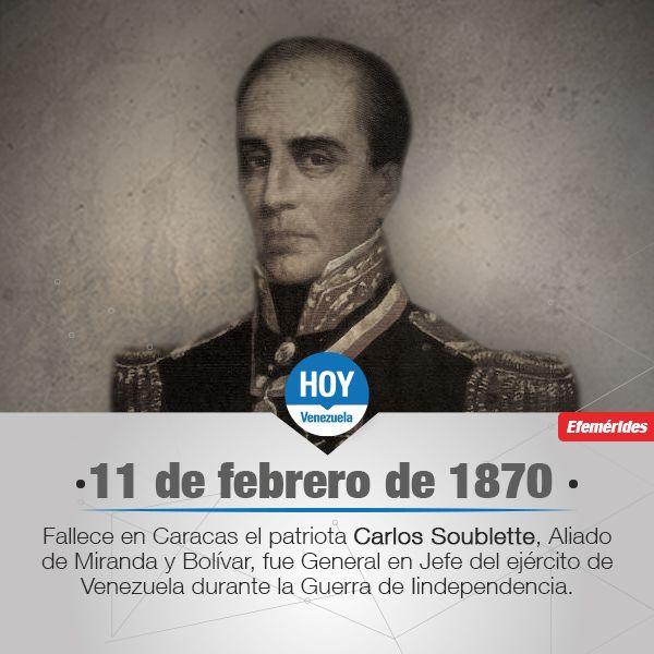 #UnDíaComoHoy fallece Carlos Soublette; político, diplomático y prócer de la independencia de Venezuela