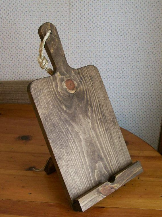 iPad Stand Cutting Board Style Recipe Holder by Wood4Decor on Etsy, $30.00