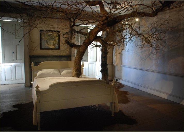 tree through bed
