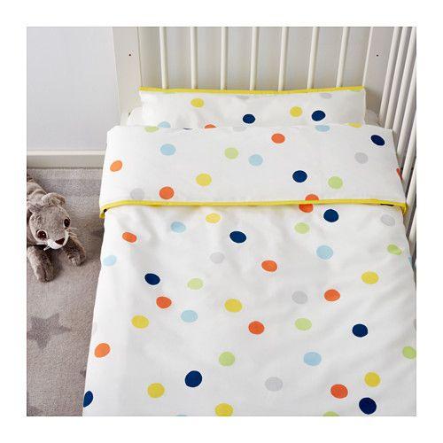 DRÖMLAND Crib duvet cover/pillowcase, multicolor multicolor 43x49/14x22
