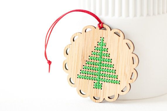 DIY Christmas Ornament Kit - Bamboo Cross Stitch Ornament - Modern Christmas Tree Pattern