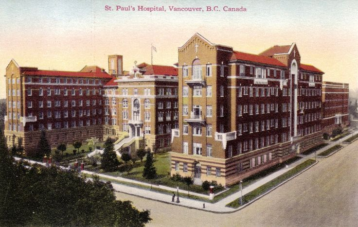 St. Paul's Hospital,c1930's,  1081 Burrard Street (corner at Comox Street), Vancouver, BC. Conducted by Sisters of Charity of Providence.   View looking west from the 1000-block of Burrard Street in Vancouver, BC. Central block built 1912-13. Architect: Robert F. Tegen. The hospital was established in 1894 by the Sisters of Providence, a Catholic order founded in...