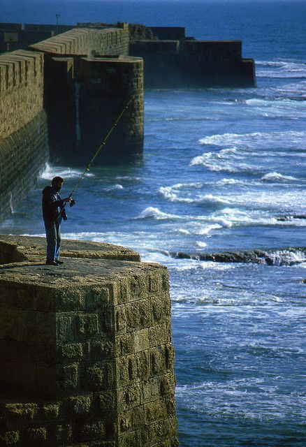 Fishing from the Ancient Walls of Acre - Acco, Israel