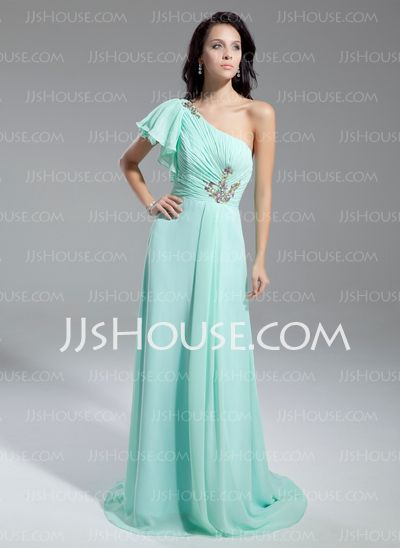 Prom Dresses - $132.99 - A-Line/Princess One-Shoulder Court Train Chiffon Charmeuse Prom Dresses With Ruffle (020014853) http://jjshouse.com/A-line-Princess-One-shoulder-Court-Train-Chiffon-Charmeuse-Prom-Dresses-With-Ruffle-020014853-g14853