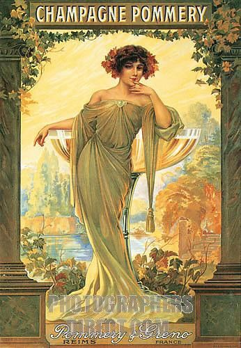 Champagne Pommery , 1902 Beautiful Art Nouveau poster for the French house Pommery & Greno in Reims stock photo