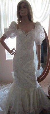 Excited to share the latest addition to my #etsy shop: Vintage 80's Lace Wedding Dress- Retro Puff sleeves,- Sweetheart neckline -Bo-Ho dress, 80's wedding, Mermaid dress, Wiggle wedding dress http://etsy.me/2E8AB09 #weddings #clothing #weddinggown #white #wedding