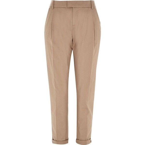 River Island Beige casual turn up chino trousers (€22) ❤ liked on Polyvore featuring pants, bottoms, river island, beige, sale, women, chinos pants, beige pants, chino trousers and beige trousers