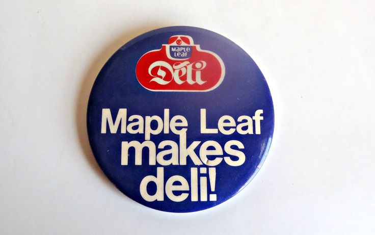 Pinback Button Vintage Maple Leaf Makes Deli 1980's by treasurecoveally on Etsy