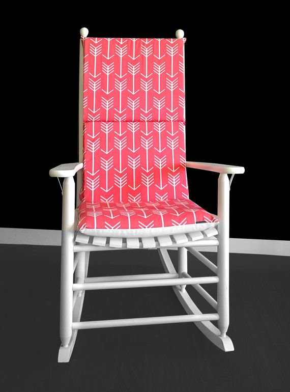 Rocking Chair Cushion Cover Arrows Coral Pink By RockinCushions