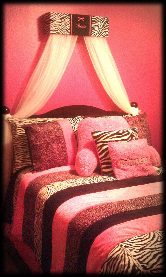 Zebra Decor For Bedroom Part - 19: Bed Canopy Crib Crown HOT Pink Zebra Print SaLe Embroidered Bedroom Decor