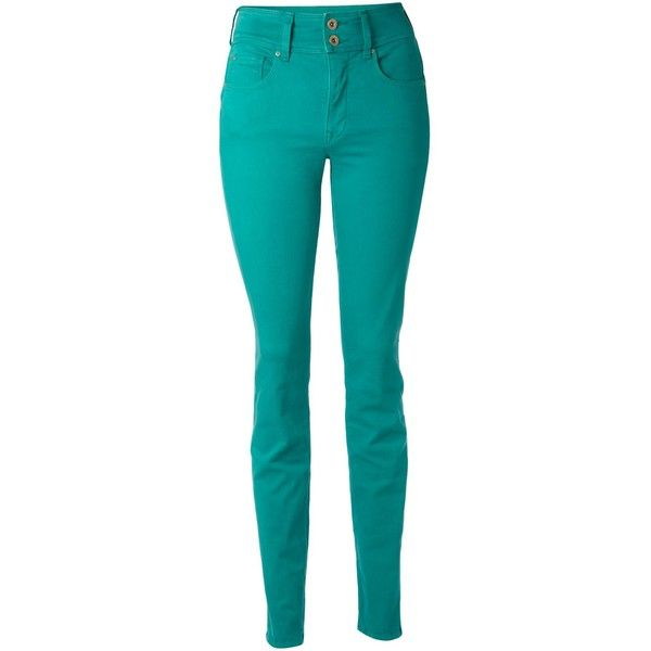 Salsa Slim coloured jeans ($36) ❤ liked on Polyvore featuring jeans, pants, green, calças, pantalones, women, blue skinny jeans, slim jeans, zip jeans and blue slim fit jeans
