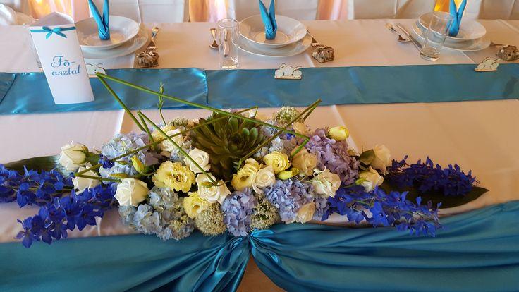 Különleges főasztaldísz esküvőre krém, lila és kék virágokkal + kövirózsával. Türkiz asztali dekoráció mellé került. Te is egyedi virágdekorációt szeretnél? Mi elkészítjük neked: http://eskuvoidekor.com/viragdekoracio