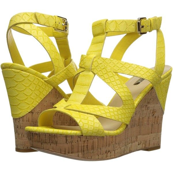 GUESS Harlea (Yellow) Women's Shoes ($45) ❤ liked on Polyvore featuring shoes, sandals, yellow, wedges shoes, yellow sandals, t strap sandals, yellow wedge shoes and platform shoes