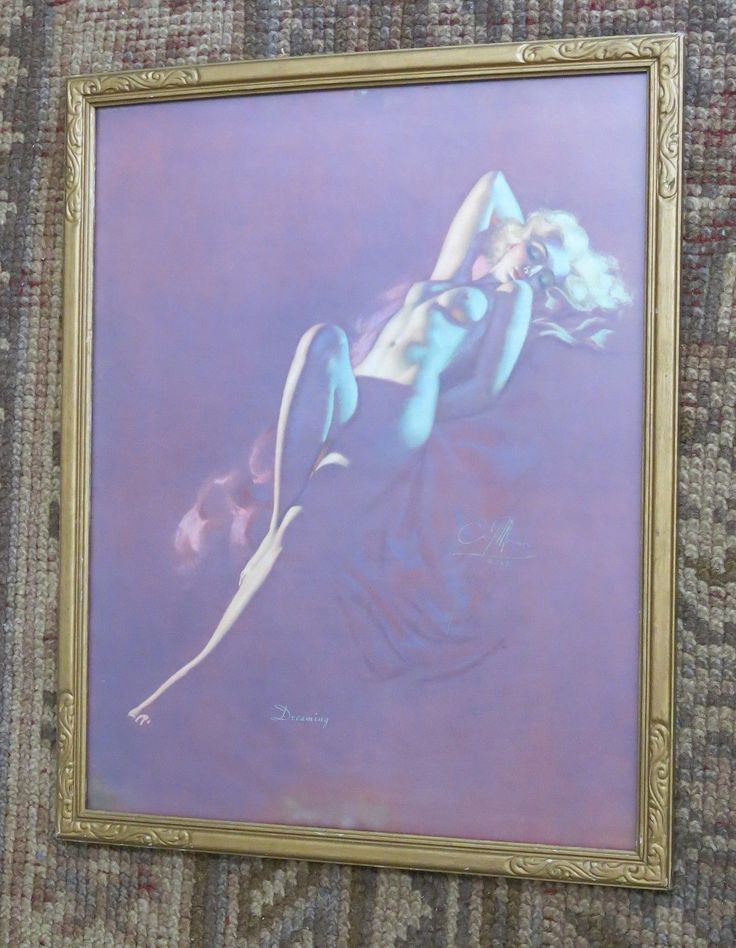 "Beautiful Vtg Earl Moran Brown & Bigelow "" Dreaming "" Nude Lady Original Print"