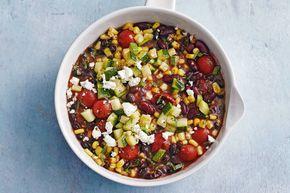 15 Maart 2017 - Zwarte bonen + kidneybonen + mais + feta + tomatensaus in de bonus = een kleurrijke stoof met stoere smaken.- Recept - Allerhande