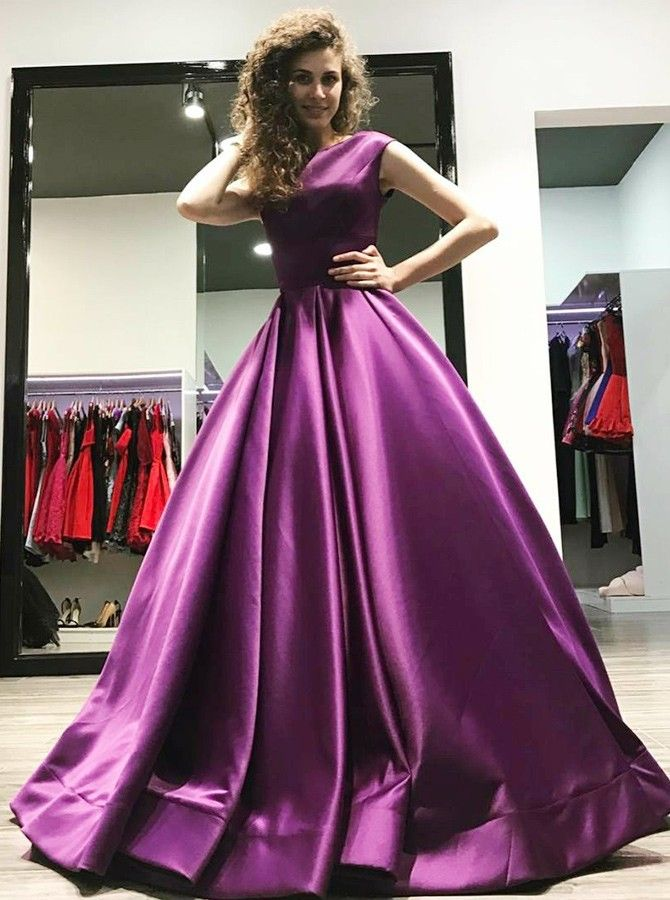 A-Line Bateau Floor-Length Pleated Purple Satin Prom Dress | debut ...