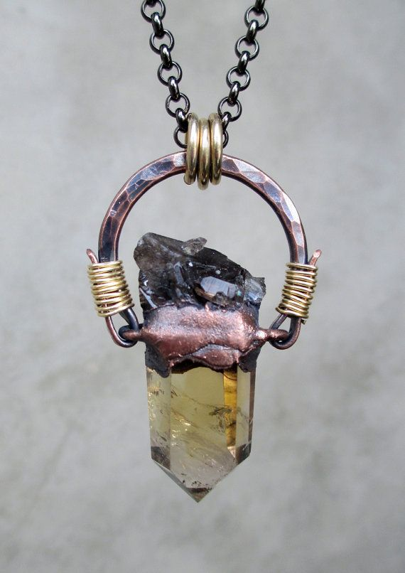 Tribal Amulet with Smokey Citrine Quartz and by SilviasCreations, $129.00