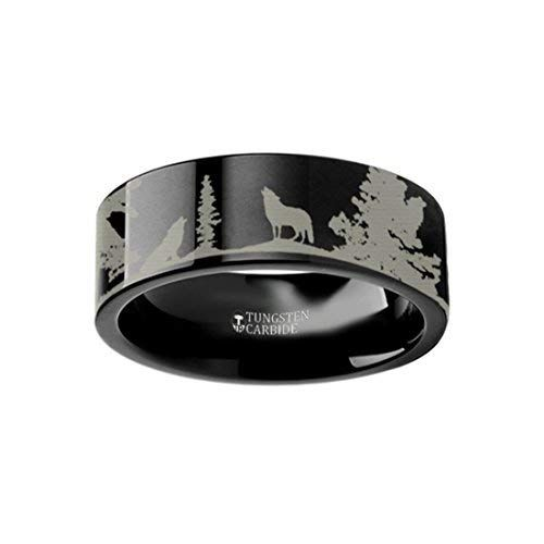 Thorsten Howling Wolf Animal Landscape Scene Wolves Ring Flat Tungsten Ring 6mm Wide Wedding Band from Roy Rose Jewelry