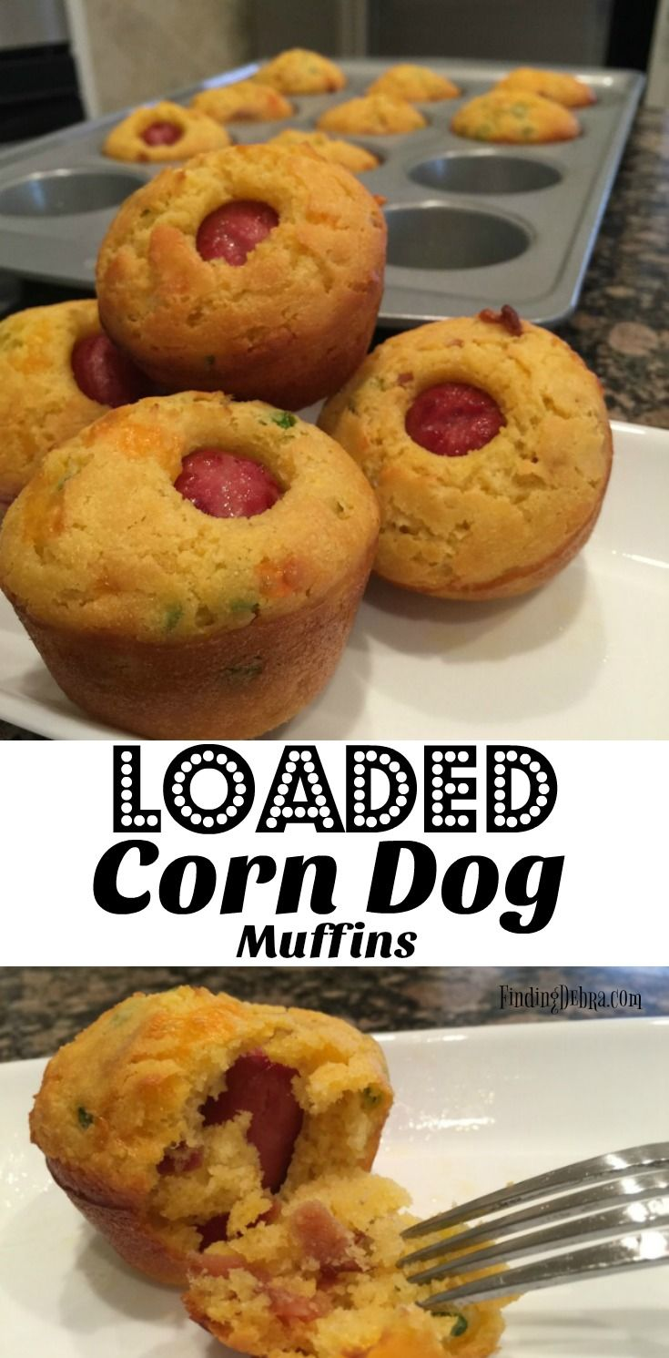 Loaded Corn Dog Muffins recipe perfect for your Homegating or Tailgating football fun! A crowd-pleaser for kids but with a grown up flair! #ad #Fanfoodleague