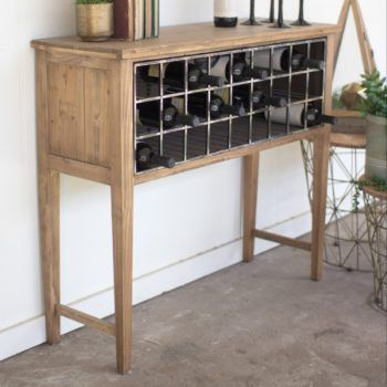 Cheers to farmhouse swag and farmhouse friends and farmhouse WINE! Our wood farmhouse wine rack console table offers a perfect resting place for your special vino …at least until you uncork them! Wood wine table requires some assembly. Built of reclaimed wood, so color and finish will vary slightly, making it even more fabulous! Product …