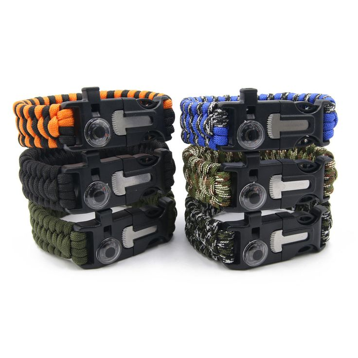 Paracord Survival Bracelet Wristband Thermometer/Flint/Whistle Outdoor Camping Gear Kit Rope Tools
