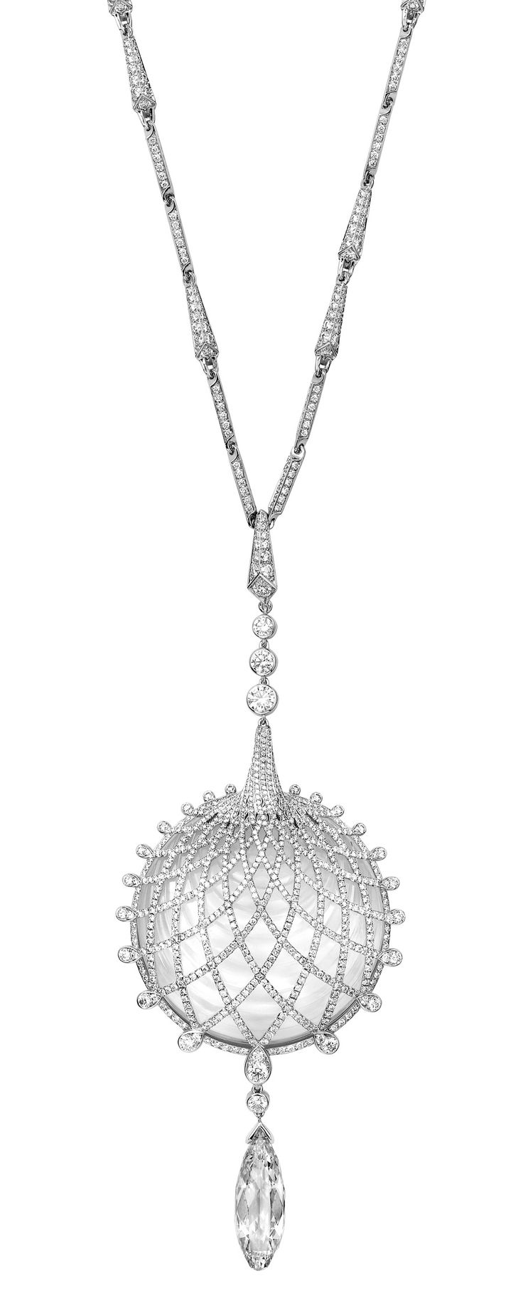 Cartier Biennale Necklace - White gold, one briolette-cut diamond, rock crystal, brilliants. PHOTO Vincent Wulveryck