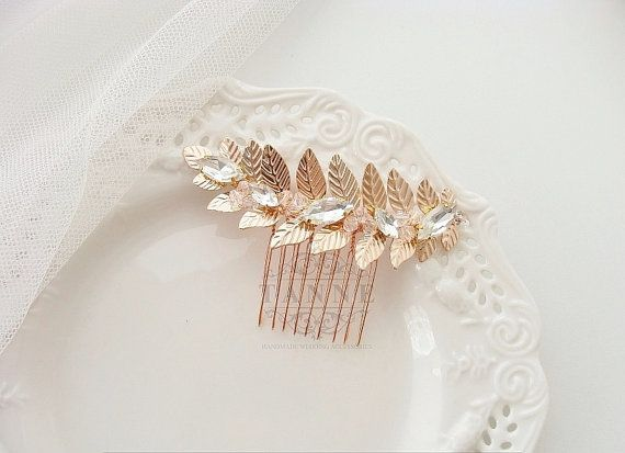 Rose Gold Hair Comb Grecian Leaf Hair Comb Gold by TanneDesign