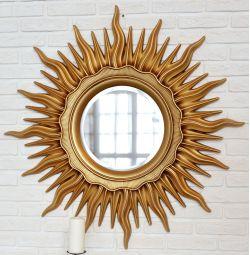 Зеркало в раме в виде Солнца Арт-Деко Золото Патина